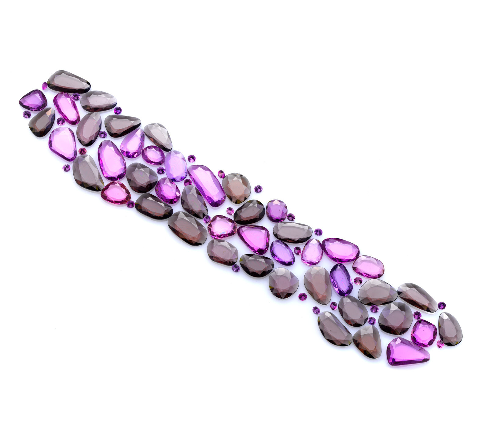 Set-for-bracelet-in-Pink-Sapphire-and-Brown-Spinel