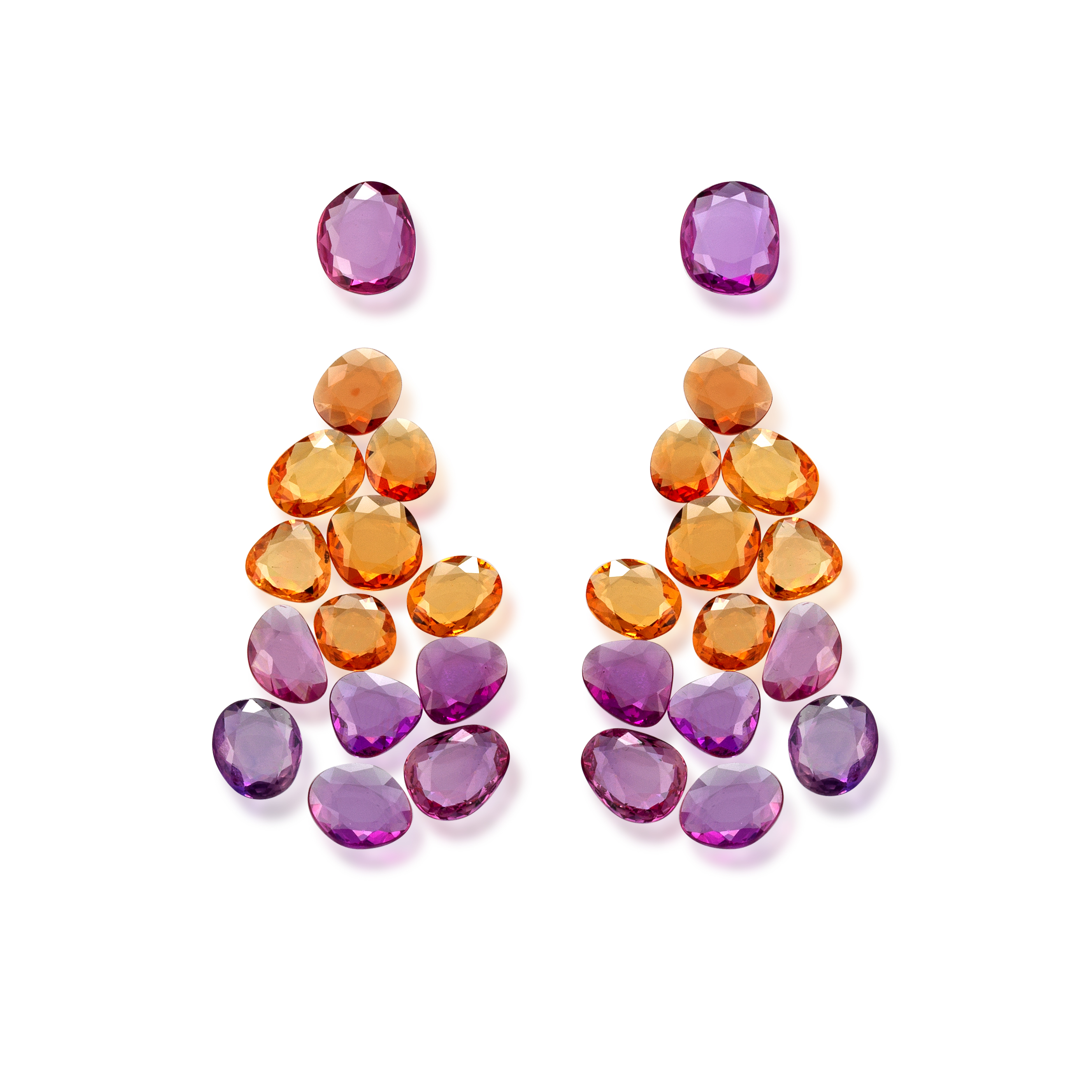 orange and pink sapphire doublerose set for earring