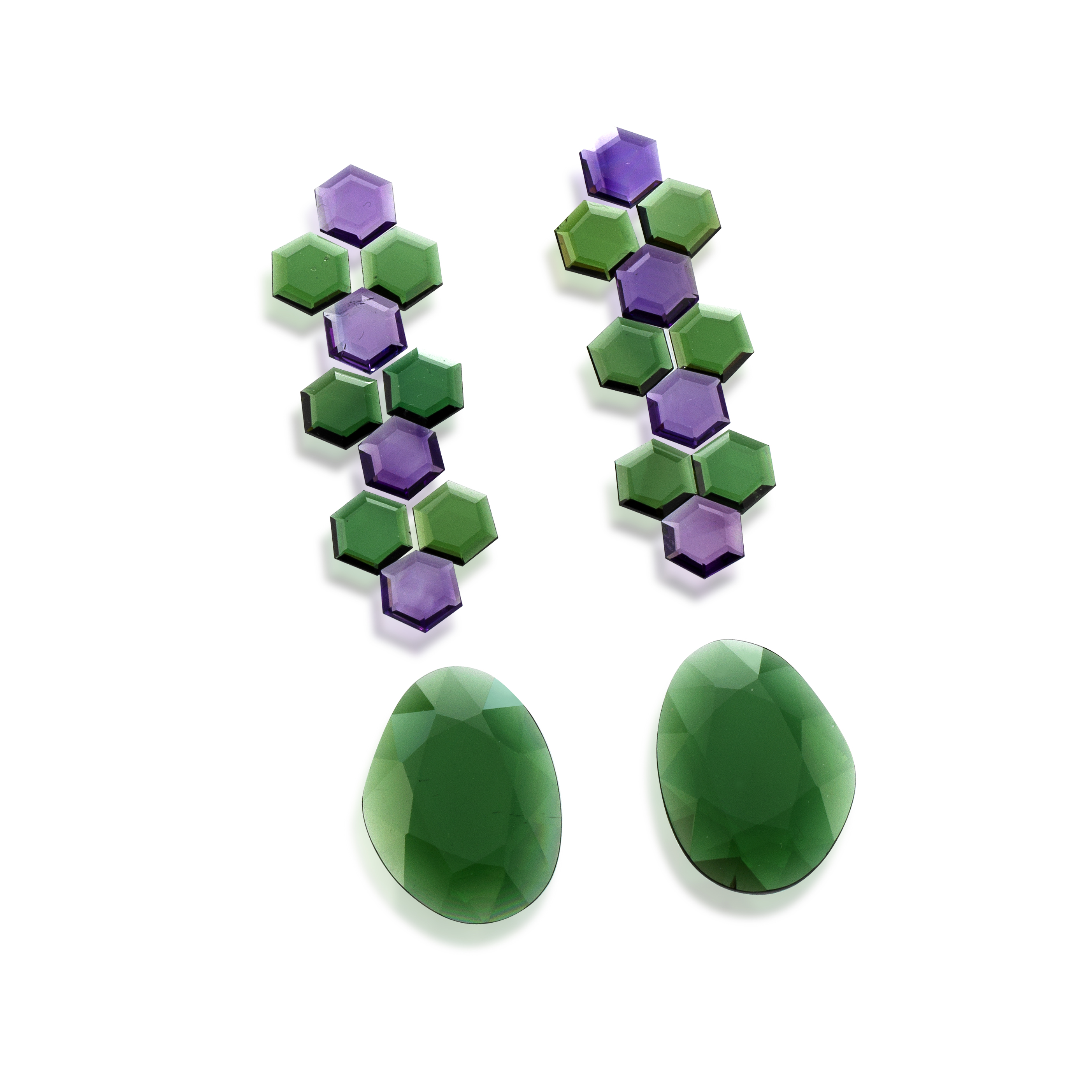 tourmaline exagon set for earring