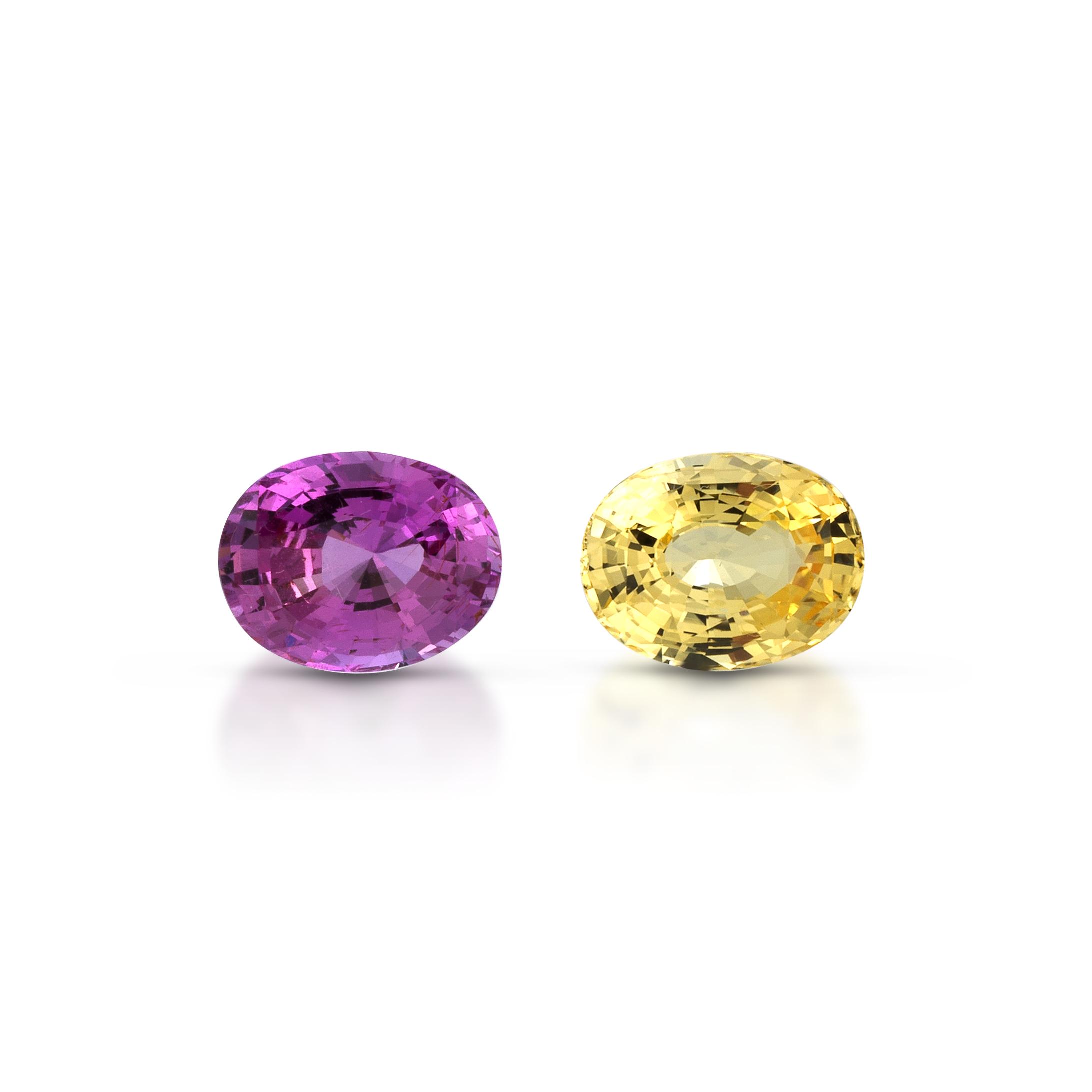 ClaudiaHamann_PreciousPair_YellowSapphire3,14cts_UnheatedCeylon_PinkSapphire3,41cts_Ceylon