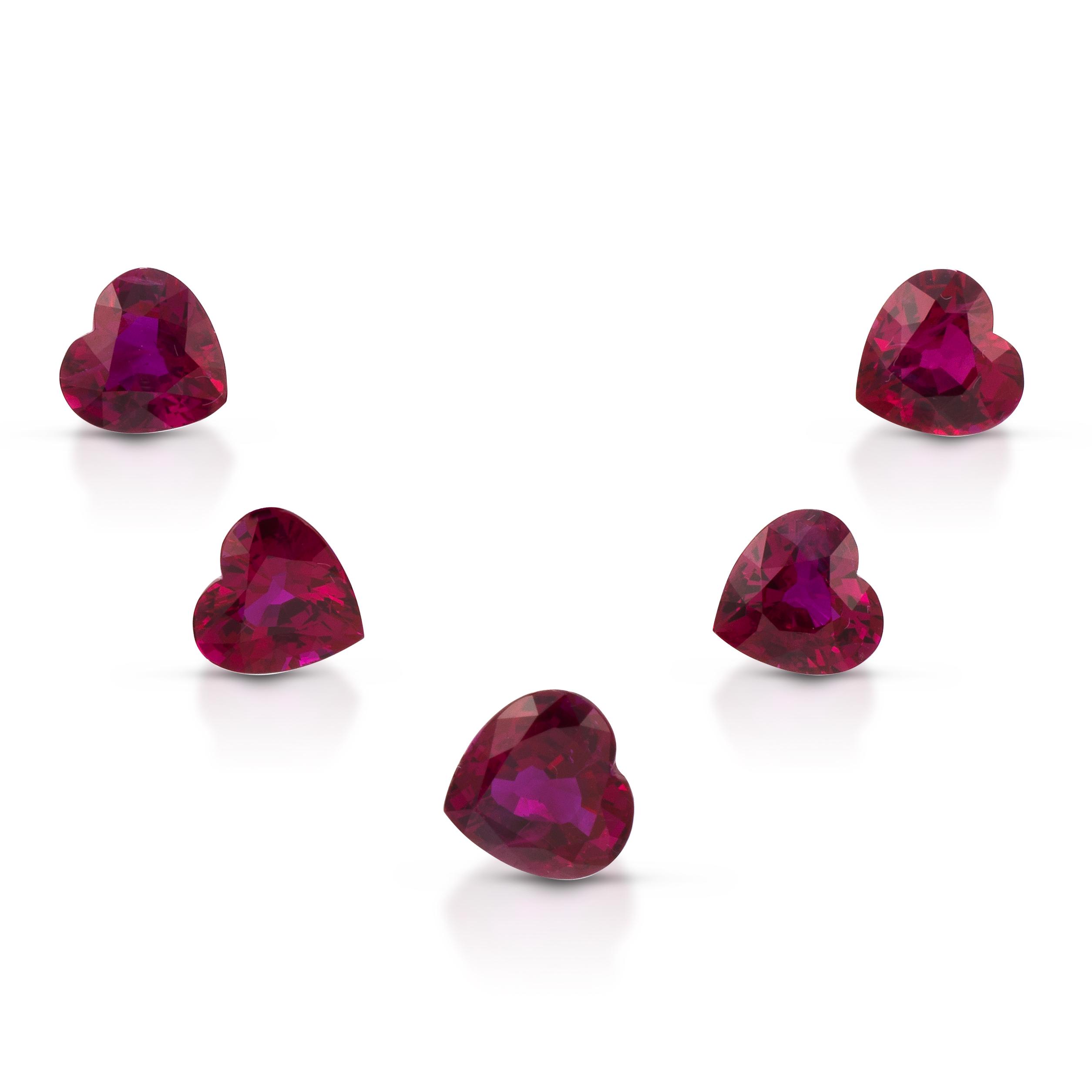 ClaudiaHamann_Ruby_Burma_ HeartShape_PreciousSetForNecklace_7.00cts