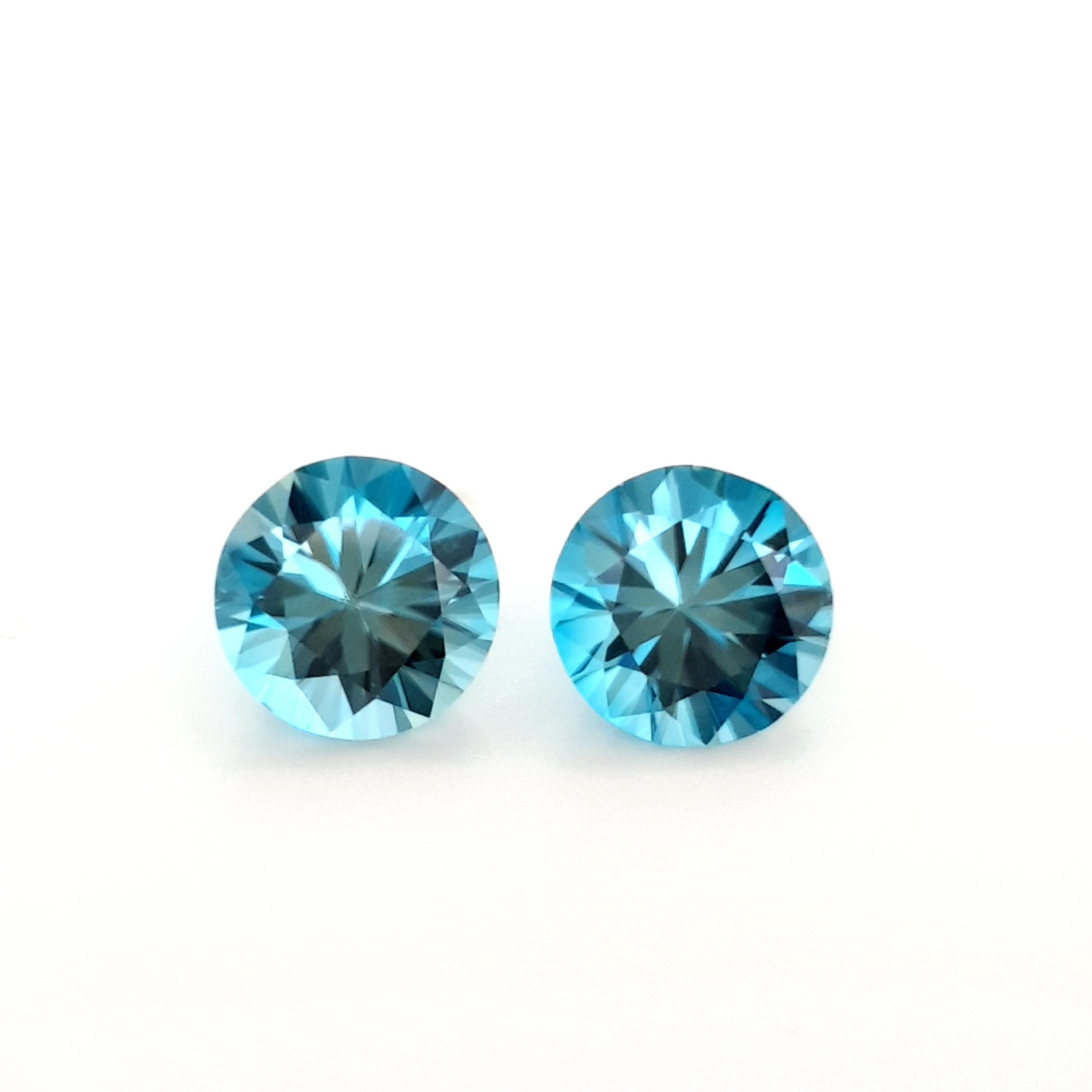8,05ct. Pair Round9,5mm Starlight Blue Zircon ZCJ19D9 ClaudiaHamann__2021-04-15-17-38-21