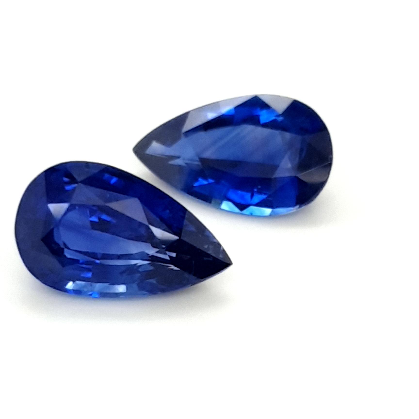 9,88ct. Pair Sapphire PearShape RoyalBlue SAB19D6 ClaudiaHamann__2021-06-03-10-46-02