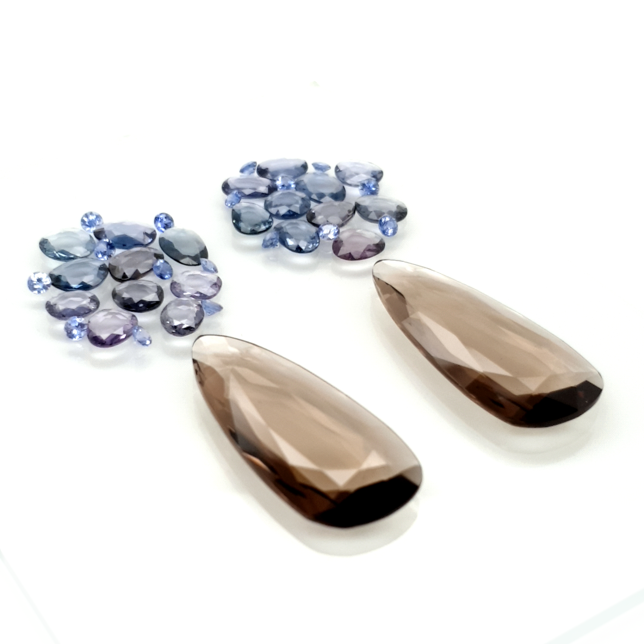 Set for earrings 43,40ct. Blue Spinel, Sapphire and Smoky Quartz ClaudiaHamann__2021-03-24-23-15-06