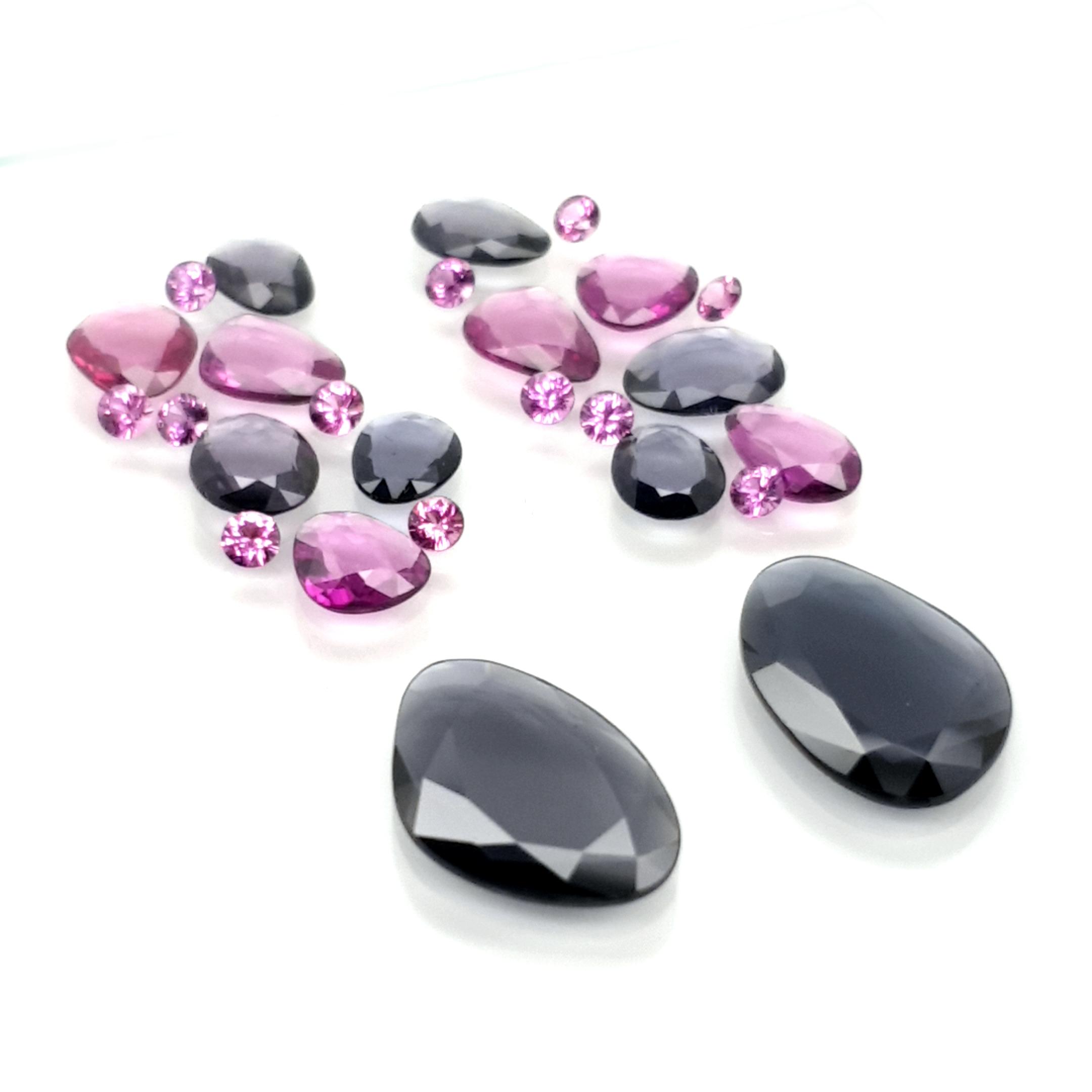 set for earring 18,98ct. DoubleRoseCut Grey Spinel, Rhodolite and violet Garnet
