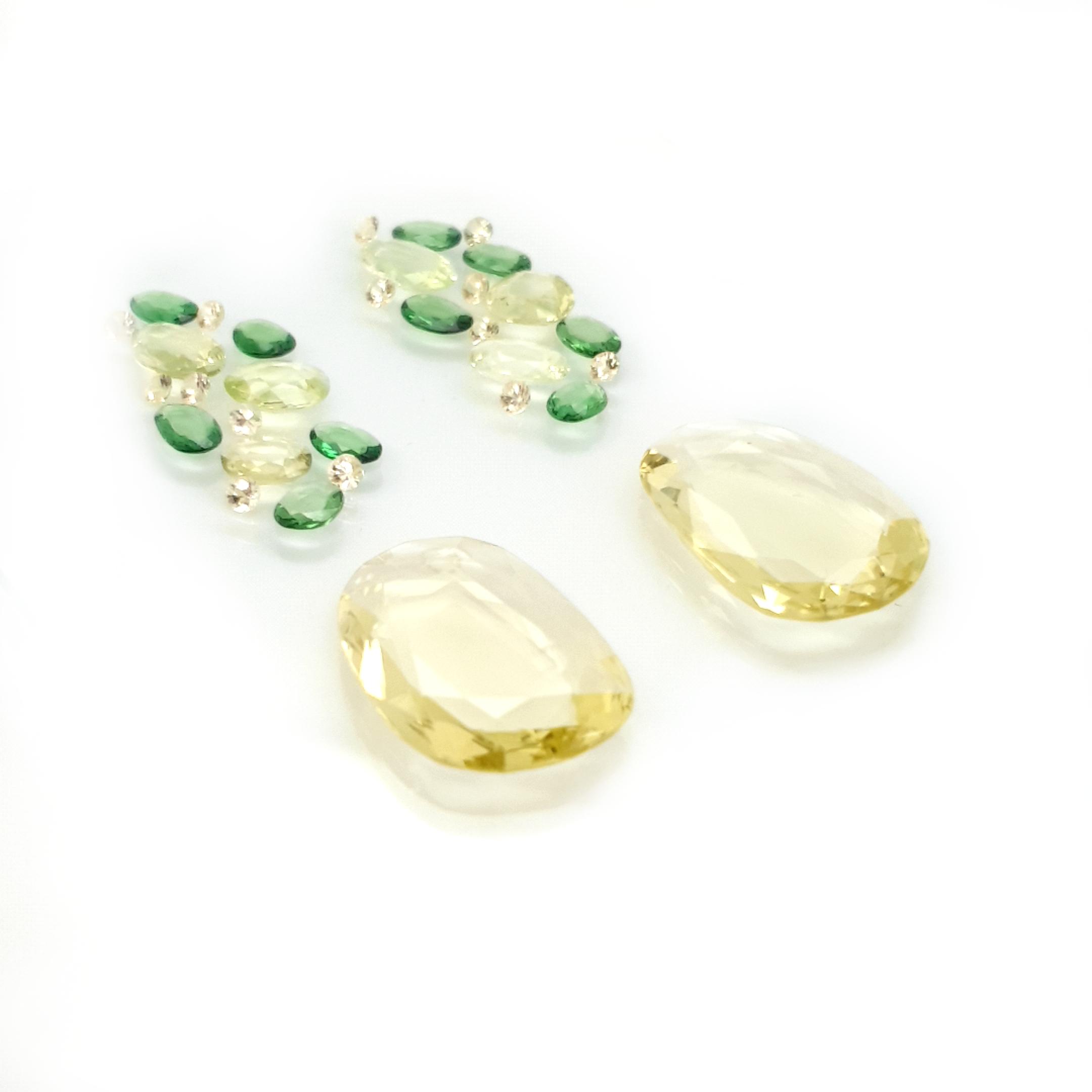 set for earring 36,83ct. DoubleRoseCut Chrysoberyl, Sapphire and Lemon Quarz